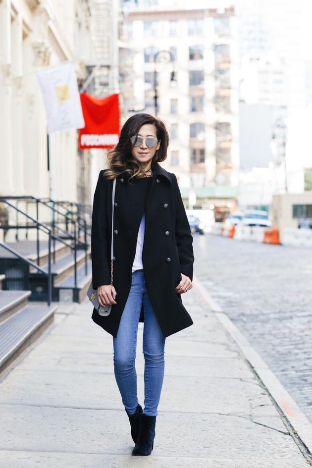Posing for full Length OOTD in Soho, Trina Turk military coat, Gentle Monster Sunnies, GiGi New York crossbody, Club Monaco velvet booties