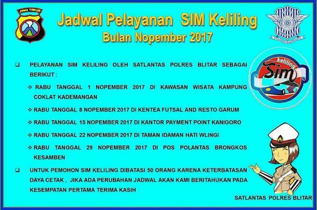 Jadwal SIM Keliling Polres Blitar Bulan November 2017