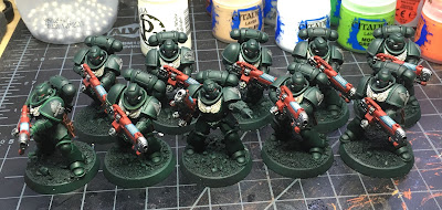 Dark Angels Primaris Hellblasters WIP Chest eagles and chapter icons painted in.