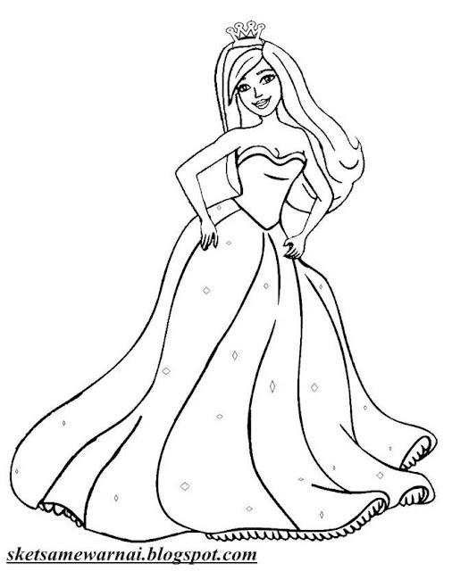 mewarnai gambar barbie princess