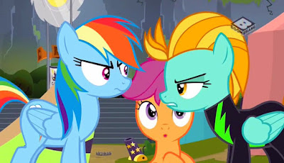 Rainbow Dash and Lightning Dust arguing as Scootaloo looks on, bemused
