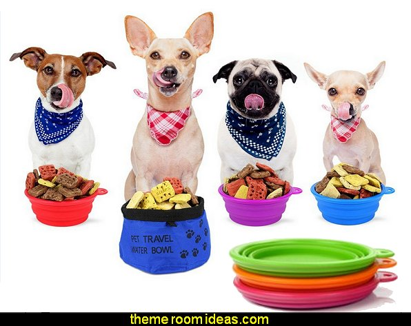 Collapsible Silicone Bowls and Collapsible Travel Water Bowl for Pets