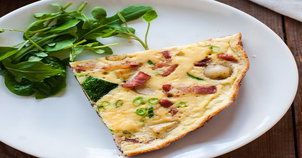 French Omelette With Bacon, Potatoes And Courgettes Recipe