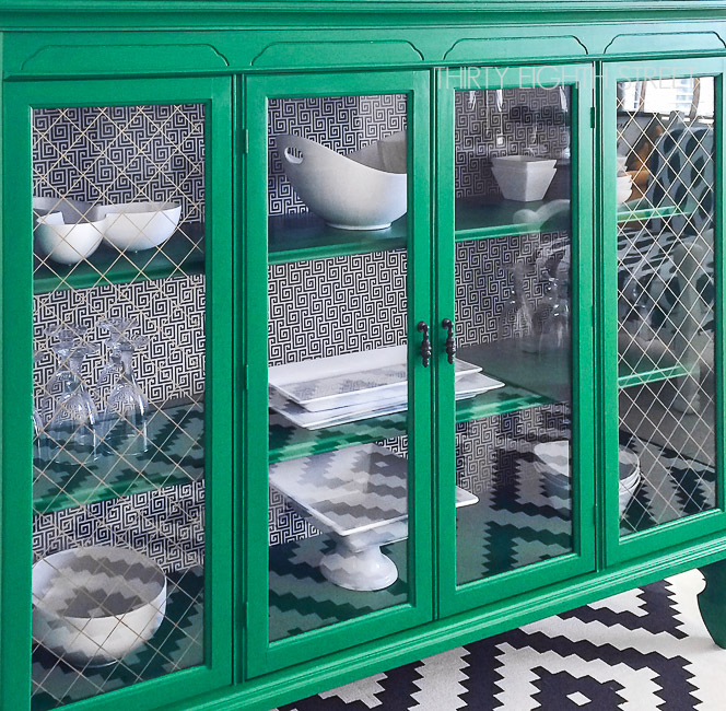 #fabflippincontest, Fab Flippin Contest, General Finishes, Emerald Green paint, hutch makeover, refinished hutch, geometric design, emerald green buffet, emerald hutch, green furniture ideas