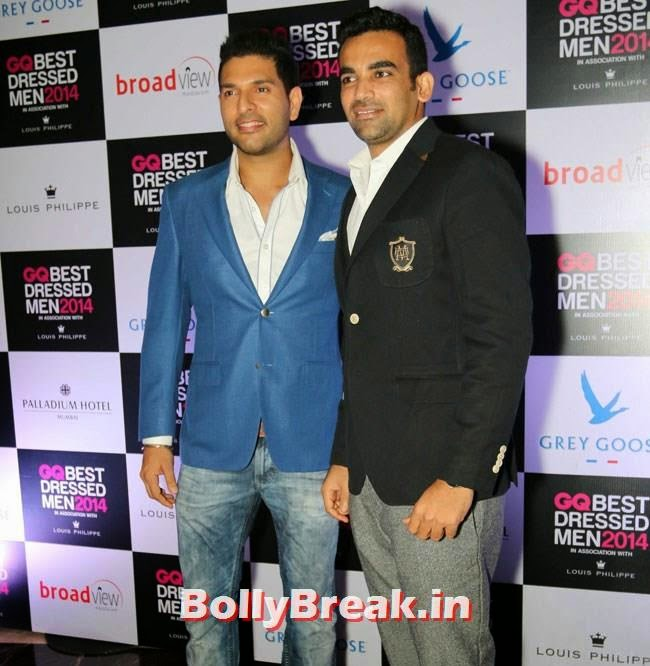 Yuvraj Singh and Zaheer Khan, Evelyn, Kim, Nargis Sizzle at GQ Best Dressed Men 2014 Awards