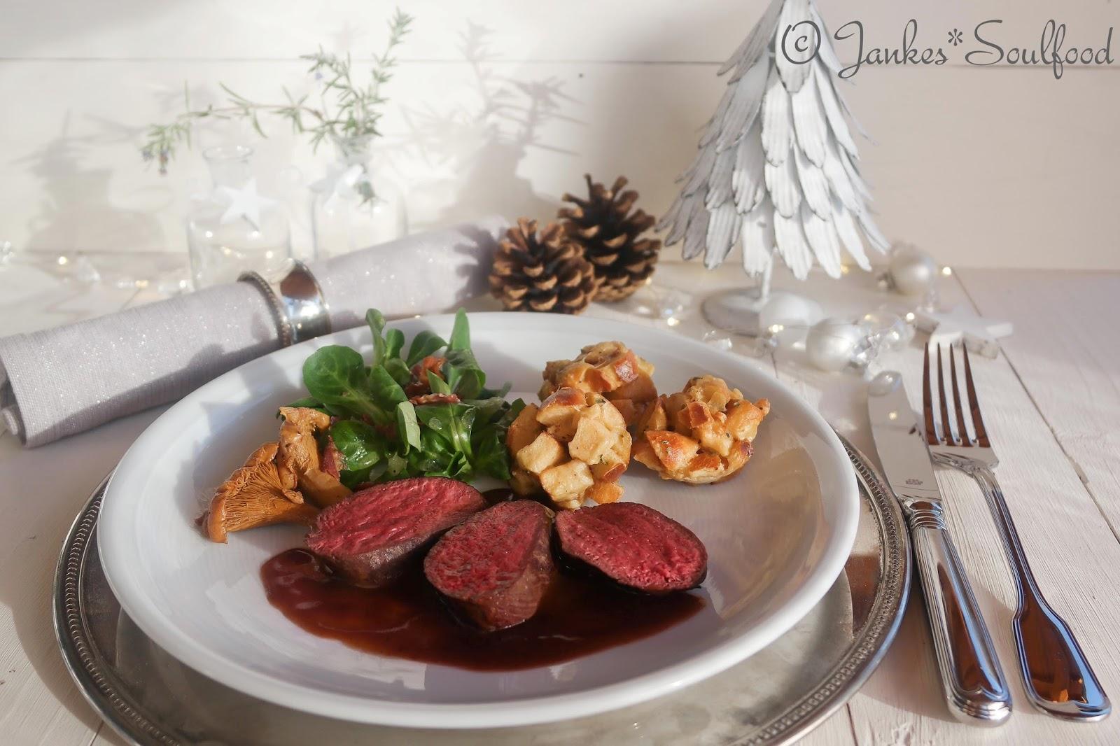 Rehrücken Filet als Hauptgang zu Weihnachten
