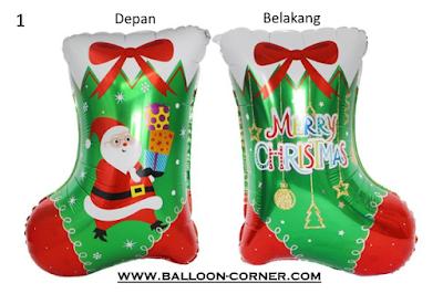 Balon Foil Kaos Kaki Merry Christmas