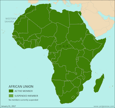 Map of Africa showing active and suspended members of the African Union (AU). Updated for the January 2017 admission of Morocco and the April 2016 lifting of the Central African Republic's suspension (colorblind accessible).
