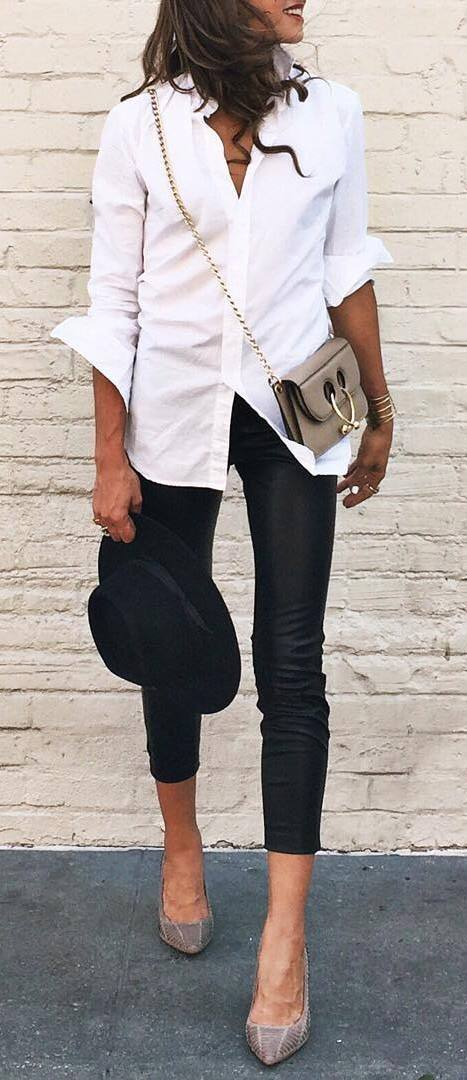 office style perfection: shirt + pants + bag