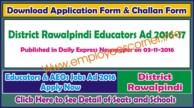 Educators Jobs 2016-17 District Rawalpindi ad