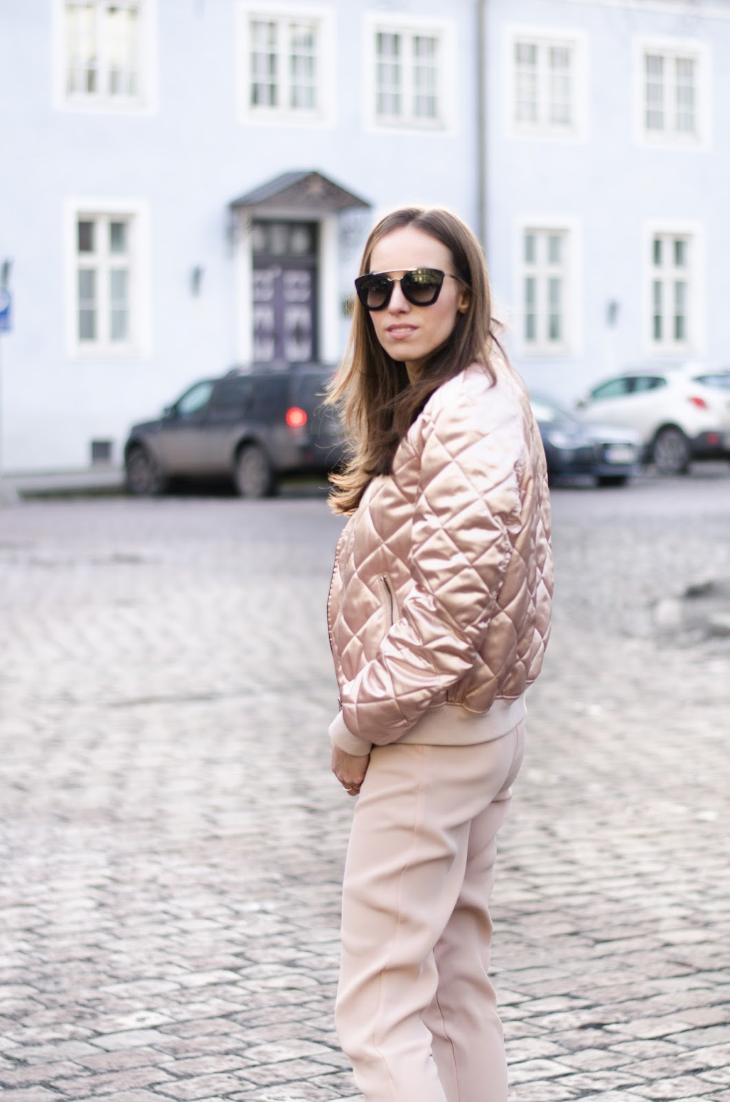 kristjaana mere pink bomber jacket outfit