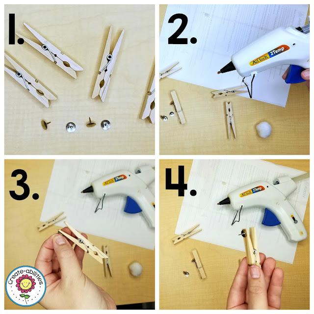 Glue Pushpins on Clothespins