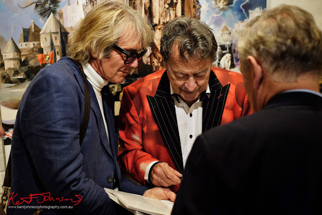 Charles signing for 'Andy' - Dali Sculptures LAUNCH at Billich Gallery - Photography by Kent Johnson for Street Fashion Sydney