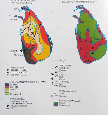 Gambar Peta kepadatan penduduk Sri Lanka
