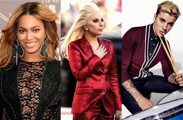Justin Bieber, Beyoncé y Lady Gaga están entre los artistas más poderosos del milenio.
