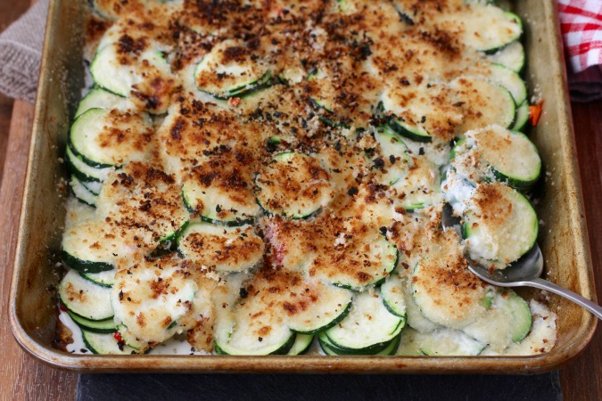This Cheesy Scalloped Zucchini is so easy to make and is the perfect side dish for a summer barbecue.