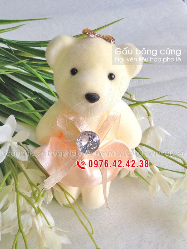 Gấu bông cứng trang trí hoa pha lê