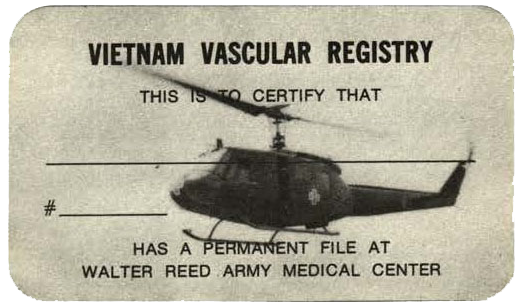 Vietnam Vascular Registry Card with a photo of a helicopter and a line to write a name