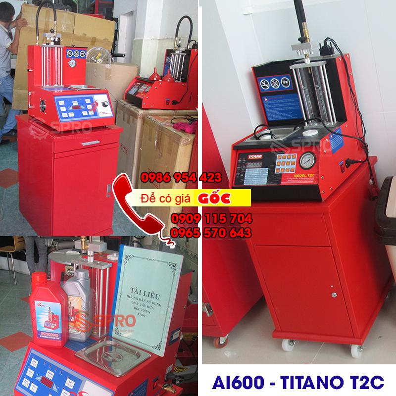 Máy súc béc vệ sinh kim phun xăng điện tử AI600 và titano T2C