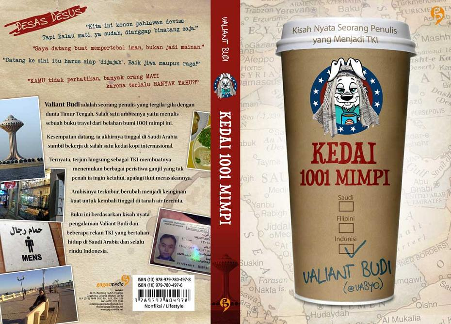 "Book cover for Valiant Budi's ""Kedai 1001 Mimpi"" (front and back)"