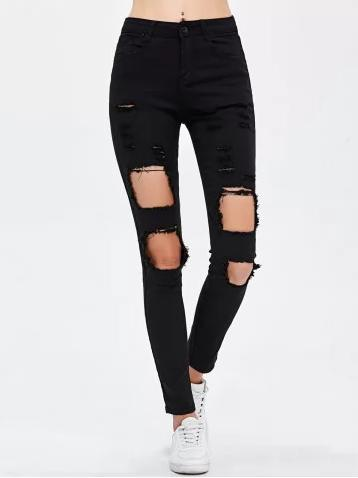 jeans-noir-trous-slim-rosegal