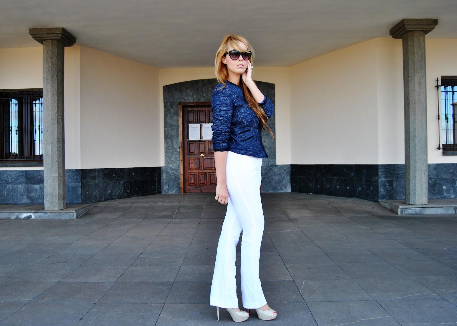 nery hdez, pantalon pata elefante, white pants, blazer , bussines look