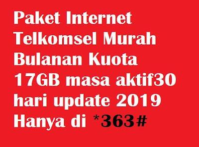 Telkomsel Pilihan yang tepat untuk pengguna kartu prabayar yang ingin mendapatkan paket i Paket Internet Telkomsel Murah Bulanan Kuota 17GB masa aktif30 hari update 2020