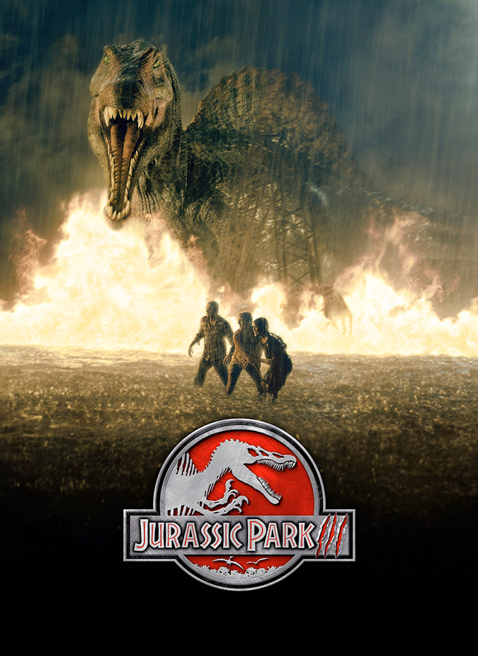 Film poster with a logo at center of a skeleton of a Spinosaurus, with its mouth wide open and hands lifted up. The logo's background is red, and right below it is the film's title. A shadow covers a large portion of the film poster in the shape of a flying Pteranodon. At the bottom of the image are the credits and release date.