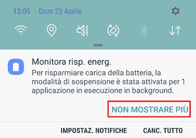 """Disattivare notifiche """"Monitora risparmio energia"""" Android"""