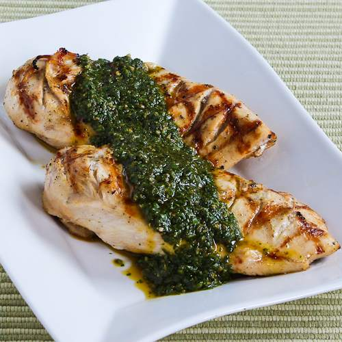 Grilled Lemon-Cumin Chicken with Charmoula Sauce found on KalynsKitchen.com