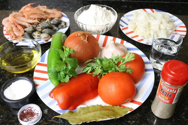Ingredientes para andrajos de bacalao