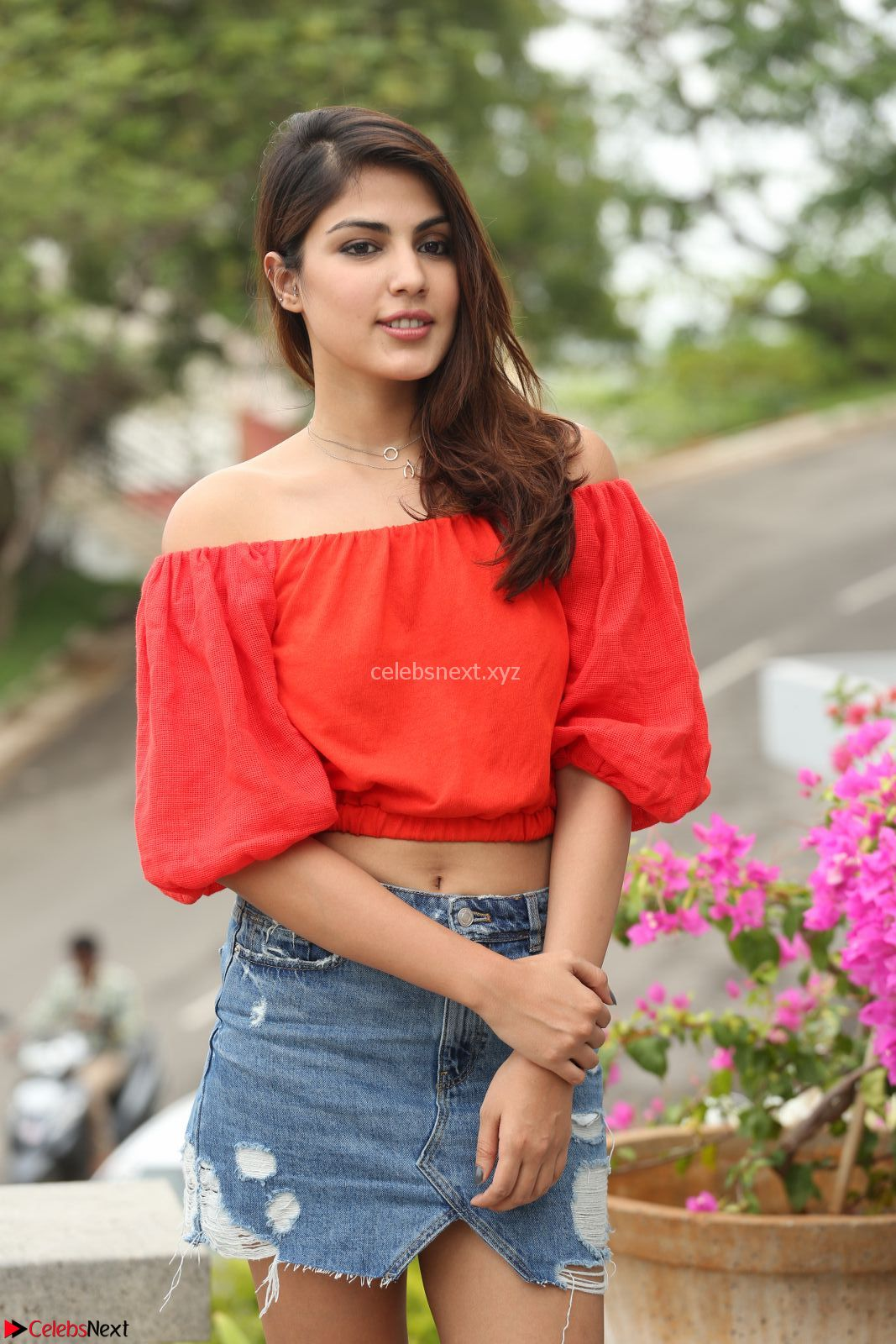 Rhea Chakraborty in Red Crop Top and Denim Shorts Spicy Pics ~ CelebsNext Exclusive