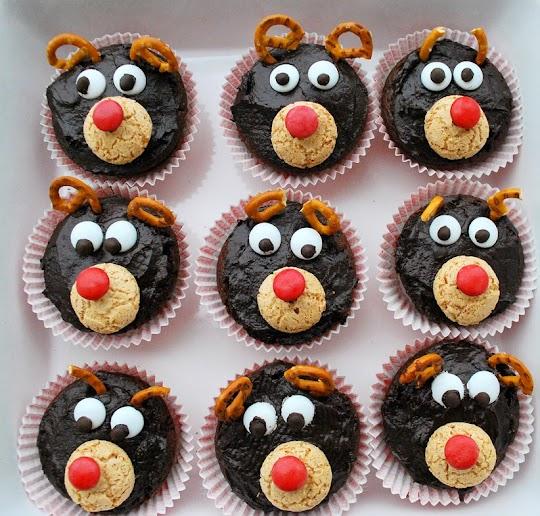 Czekoladowe muffinki, bożonarodzeniowe renifery