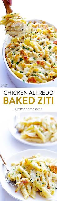 CREAMY CHICKEN ALFREDO BAKED ZITI