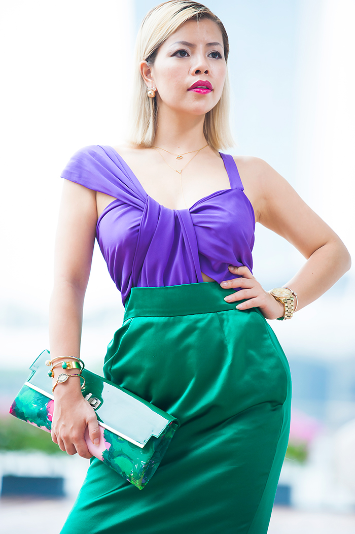 Singapore Best Fashion Blog- Crystal Phuong in Gucci Spring 2011 Collection, Colorblocking