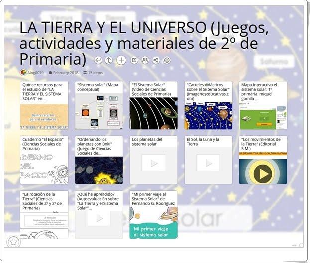 """""""13 Juegos, actividades interactivas y materiales didácticos para el estudio de LA TIERRA Y EL UNIVERSO en 2º de Primaria"""""""