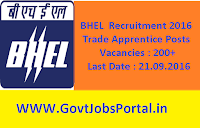 BHEL Recruitment 2016 for 200+ Trade Apprentices Apply Online Here