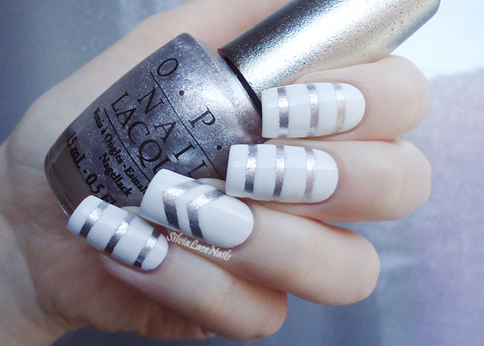 White and silver stripes nail art