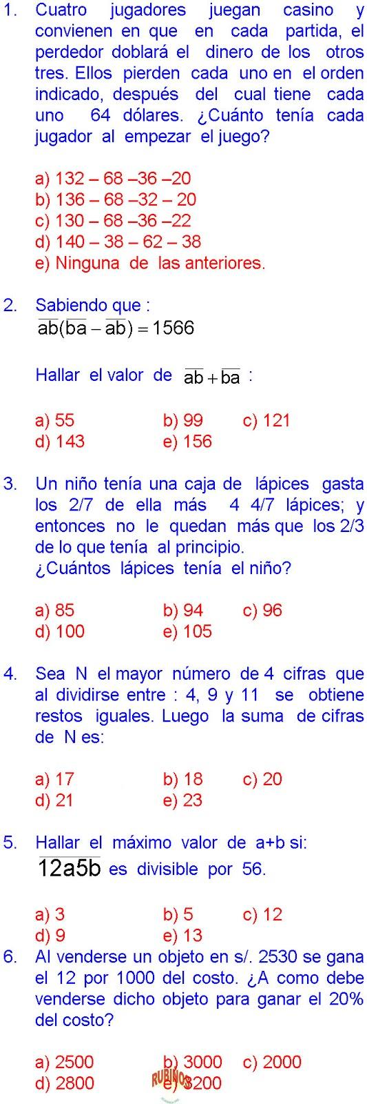 Matemáticas 30 Ejercicios Resueltos De Sexto Grado De Primaria En Pdf