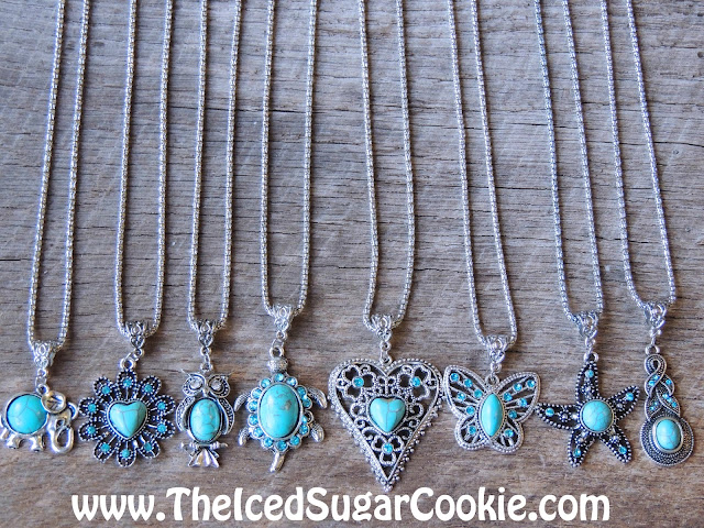 Turquoise Necklaces - - Unique, Cute, Trendy Jewelry For Girls- Owl, Butterfly, Elephant, Hearts, Starfish, Turtle
