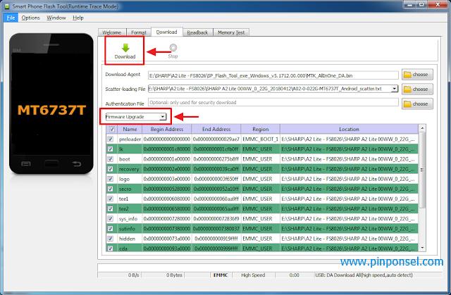 Pilih firmware upgrade kemudian klik download untuk memulai proses flashing