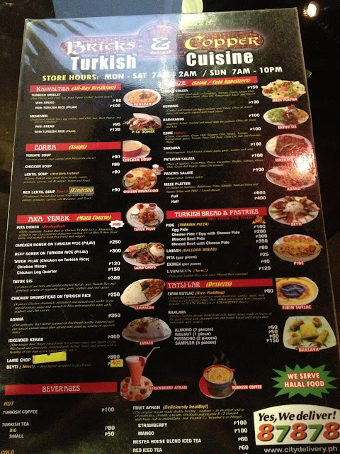 Bricks & Copper menu, Mandaluyong City