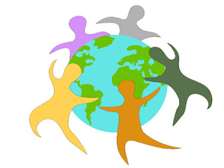 Clipart Image of Coloured Silhouettes of People Circling the World
