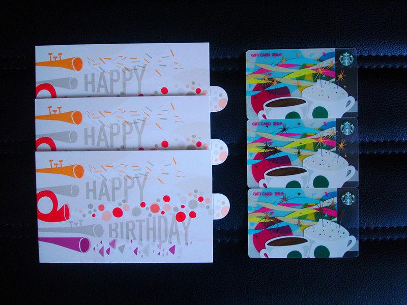 2015 China Starbucks Happy Birthday Gift Cards Set UsedRMB100200500