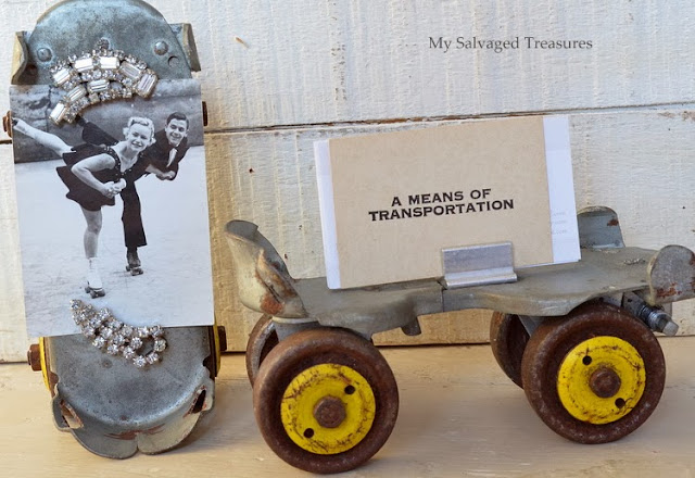 use vintage rollers skates to display pictures and business cards