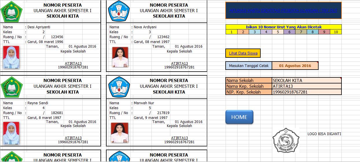 Aplikasi Kartu Ujian Sekolah Ujian Nasional Format Excel Guru Galeri