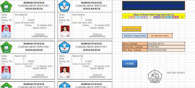 Aplikasi Kartu Ujian Sekolah/Ujian Nasional Format Excel