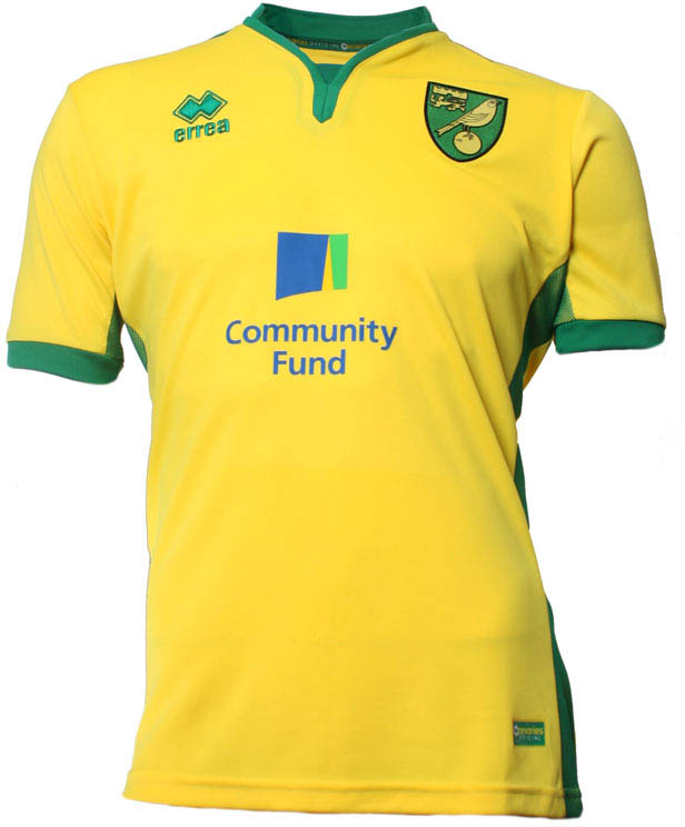 the norwich city home shirt is yellow with the end of the sleeves the collar and the side of the shirt offset in green - Yellow Home 2016