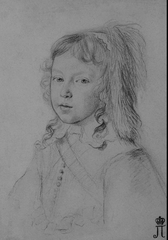 Portrait of Louis XIV as a Child by Claude Mellan - Portrait, History Drawings from Hermitage Museum