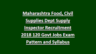 Maharashtra Food, Civil Supplies Dept Supply Inspector Recruitment Notification 2018 120 Govt Jobs Online Exam Pattern and Syllabus